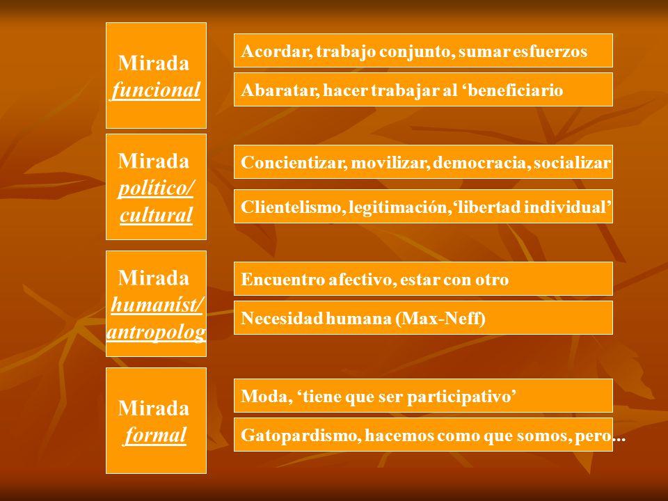 Mirada funcional Mirada político/ cultural Mirada humaníst/ antropolog Mirada formal Acordar, trabajo conjunto, sumar esfuerzos Abaratar, hacer trabaj