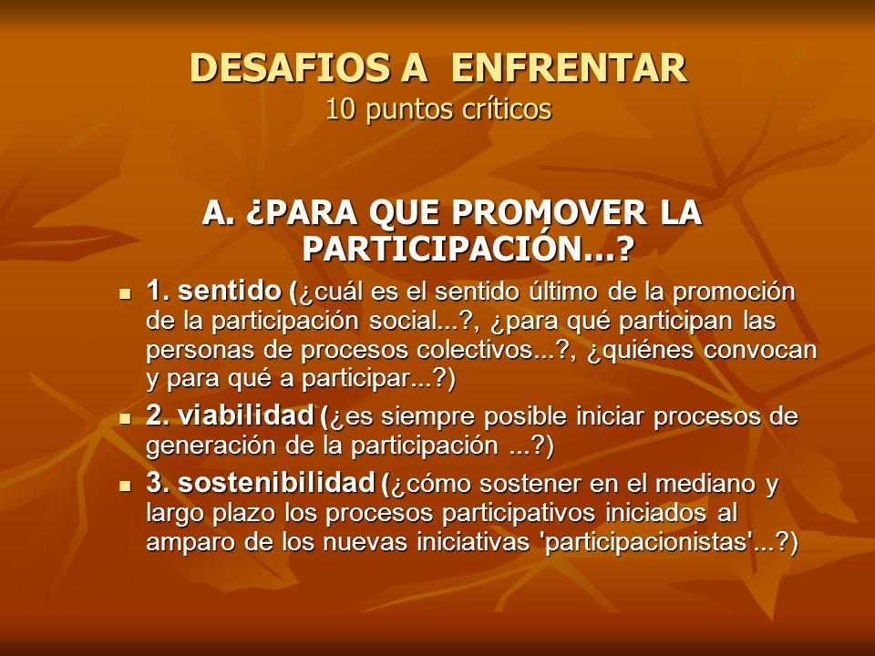 DESAFIOS A ENFRENTAR 10 puntos críticos B.¿QUIENES PARTICIPAN....