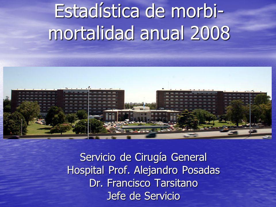 Estadística de morbi- mortalidad anual 2008 Servicio de Cirugía General Hospital Prof. Alejandro Posadas Dr. Francisco Tarsitano Jefe de Servicio