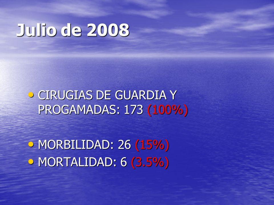 Julio de 2008 CIRUGIAS DE GUARDIA Y PROGAMADAS: 173 (100%) CIRUGIAS DE GUARDIA Y PROGAMADAS: 173 (100%) MORBILIDAD: 26 (15%) MORBILIDAD: 26 (15%) MORT