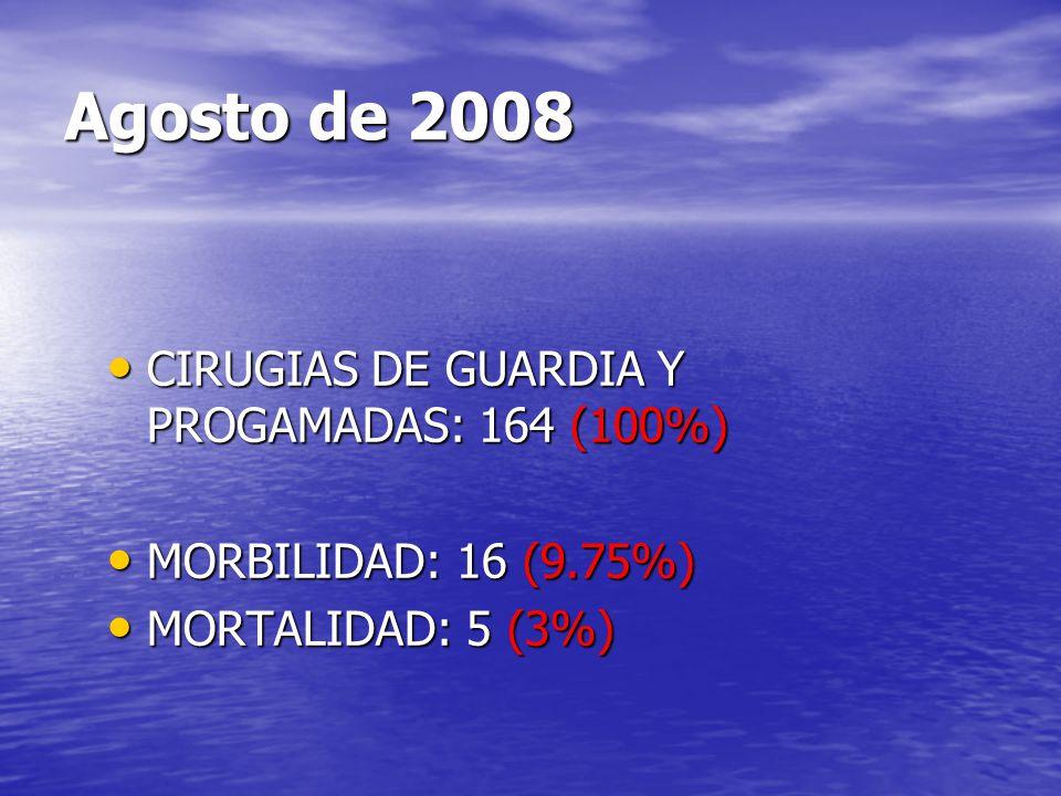 Agosto de 2008 CIRUGIAS DE GUARDIA Y PROGAMADAS: 164 (100%) CIRUGIAS DE GUARDIA Y PROGAMADAS: 164 (100%) MORBILIDAD: 16 (9.75%) MORBILIDAD: 16 (9.75%)