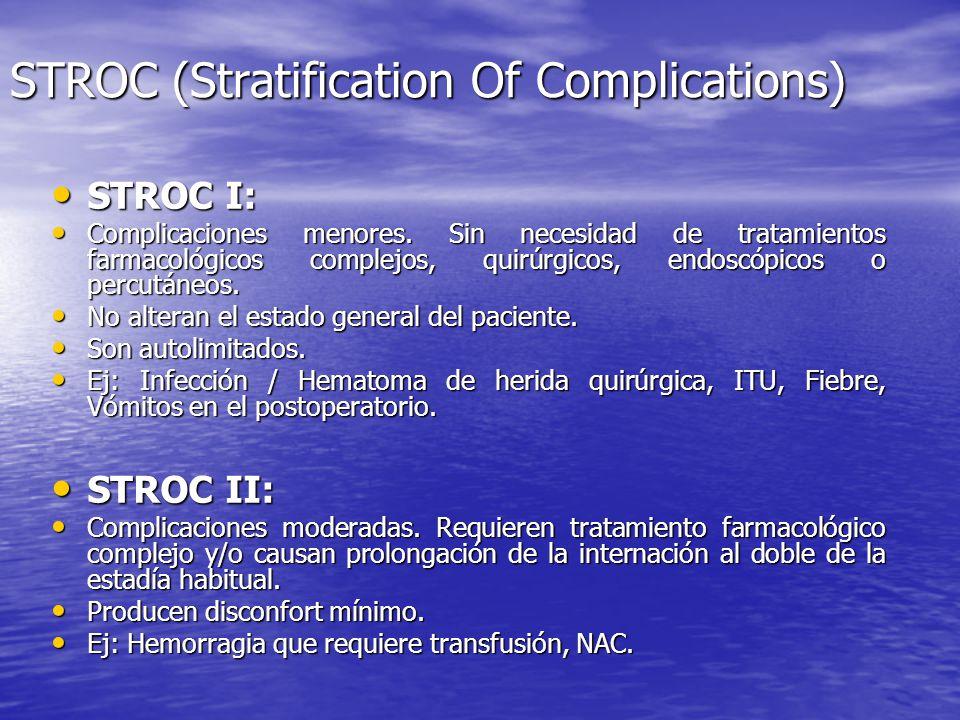 STROC (Stratification Of Complications) STROC I: STROC I: Complicaciones menores. Sin necesidad de tratamientos farmacológicos complejos, quirúrgicos,