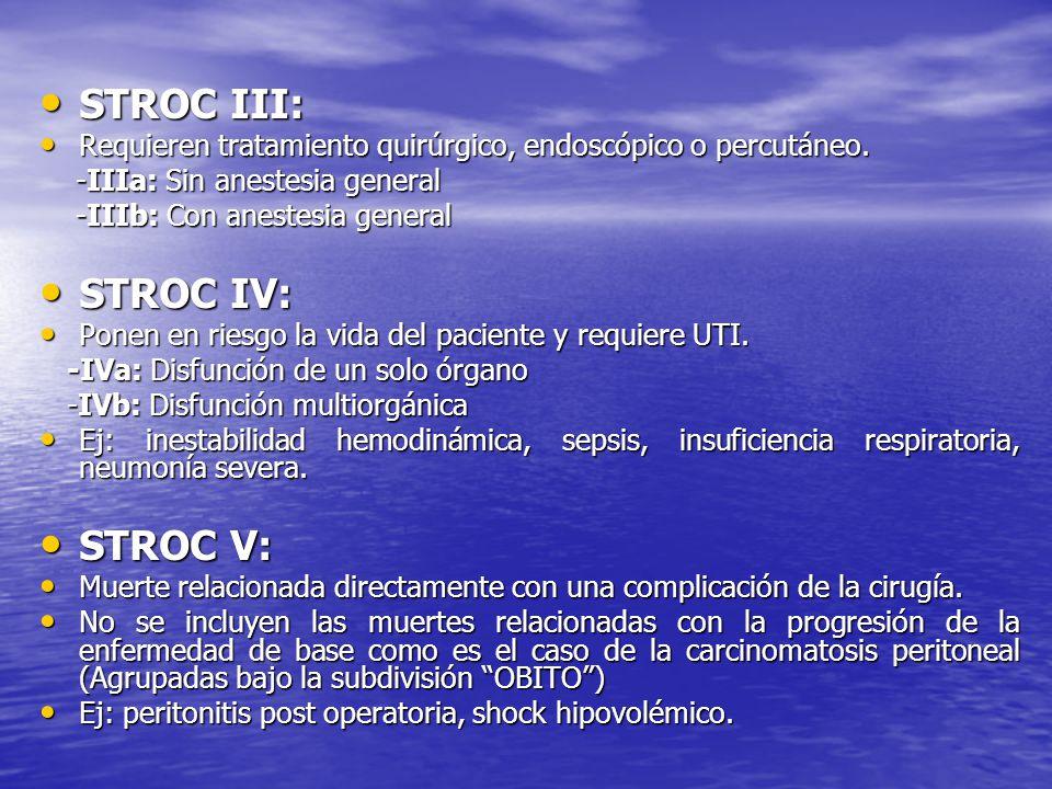 STROC III: STROC III: Requieren tratamiento quirúrgico, endoscópico o percutáneo. Requieren tratamiento quirúrgico, endoscópico o percutáneo. -IIIa: S