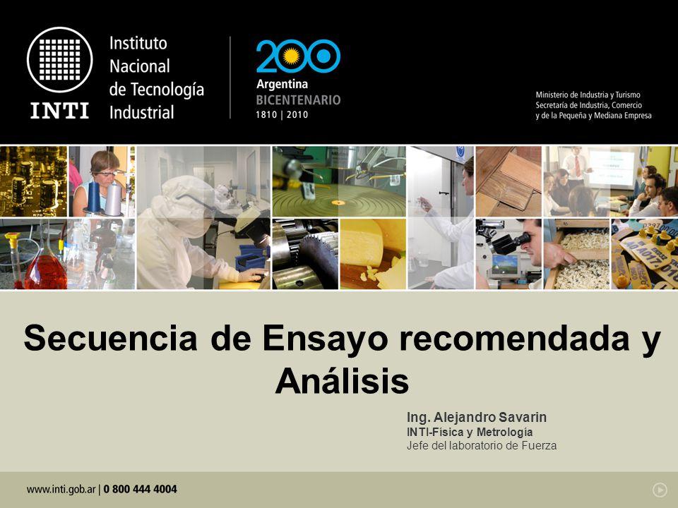 Secuencia de Ensayo recomendada y Análisis Ing.