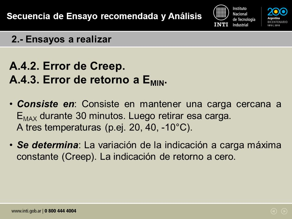 A.4.2.Error de Creep & Error de retorno a E MIN. 1.Comprobar las condiciones de Ensayo.
