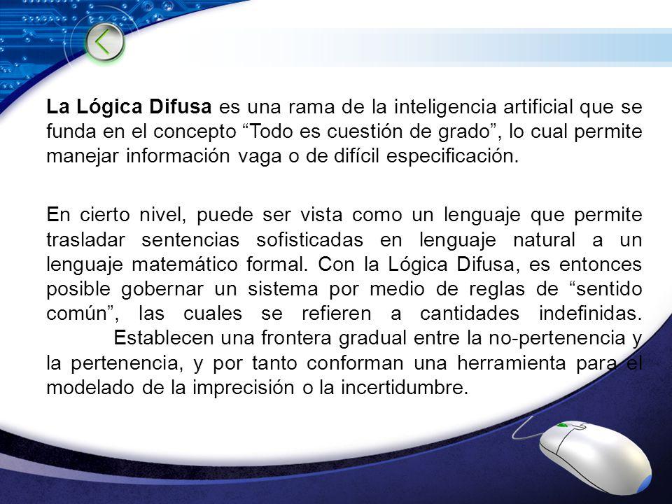 LOGO La Lógica Difusa es una rama de la inteligencia artificial que se funda en el concepto Todo es cuestión de grado, lo cual permite manejar informa