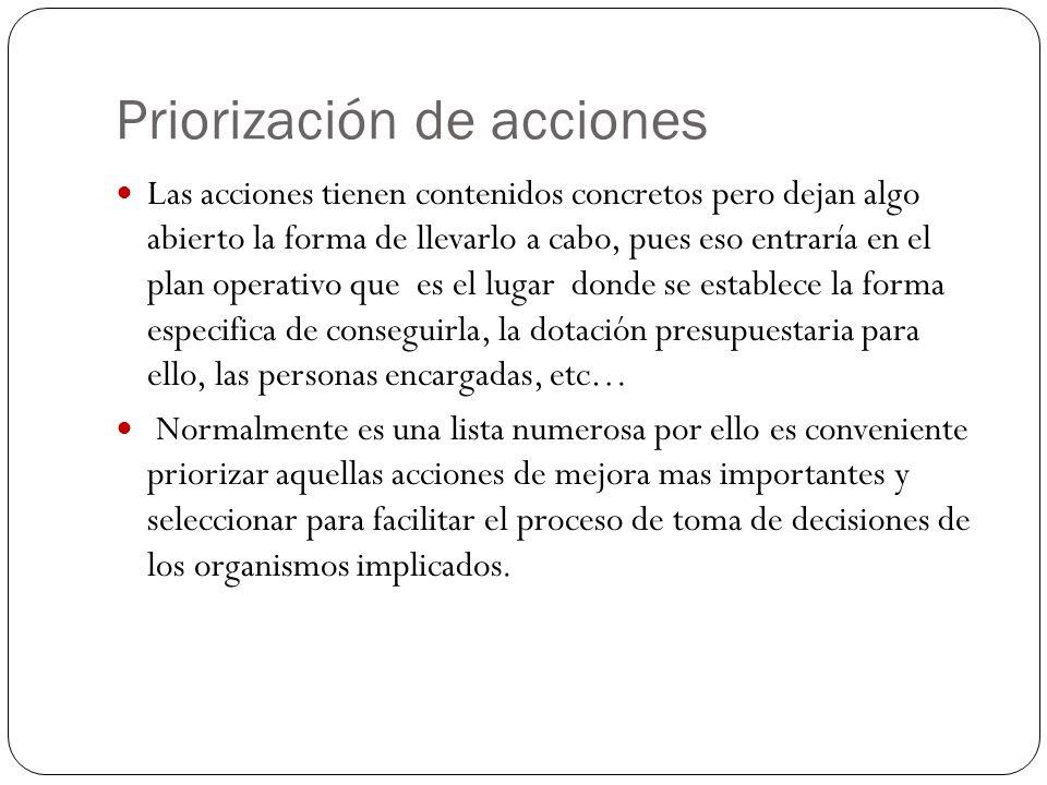 Priorización de acciones Las acciones tienen contenidos concretos pero dejan algo abierto la forma de llevarlo a cabo, pues eso entraría en el plan op