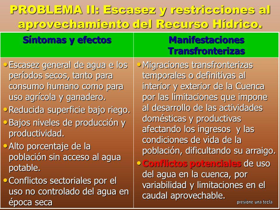 PROBLEMA II: Escasez y restricciones al aprovechamiento del Recurso Hídrico. Síntomas y efectos Manifestaciones Transfronterizas Escasez general de ag