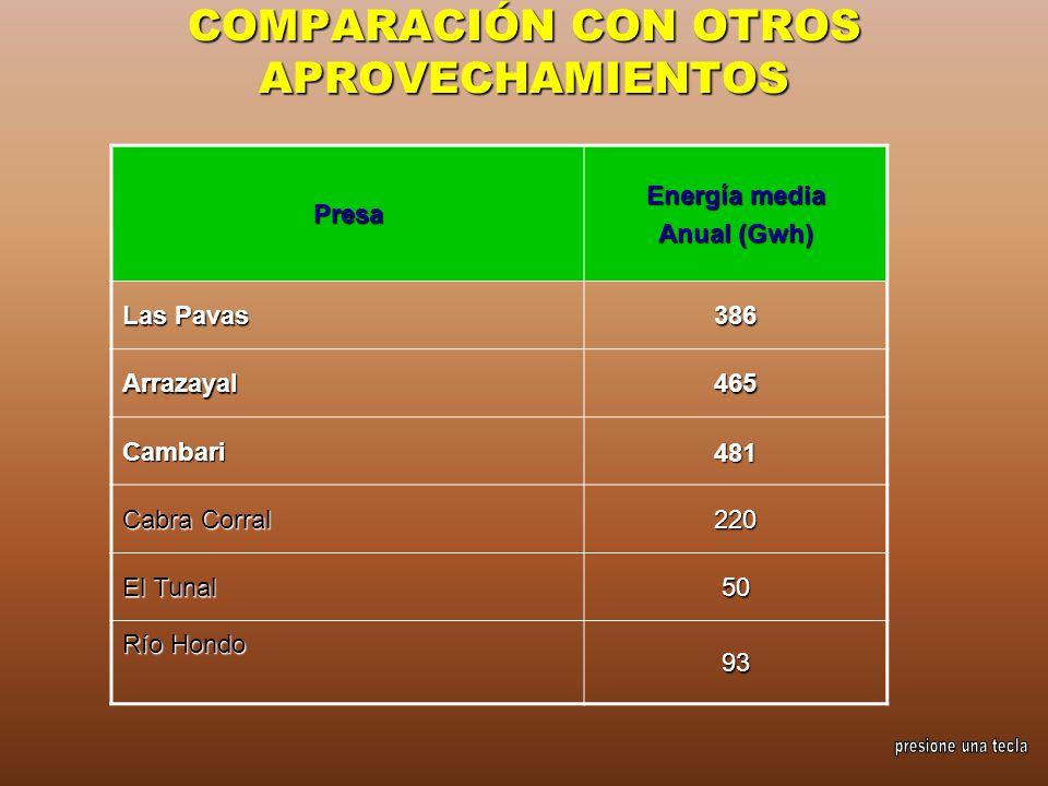 COMPARACIÓN CON OTROS APROVECHAMIENTOS Presa Energía media Anual (Gwh) Las Pavas 386 Arrazayal465 Cambari481 Cabra Corral 220 El Tunal 50 Río Hondo 93