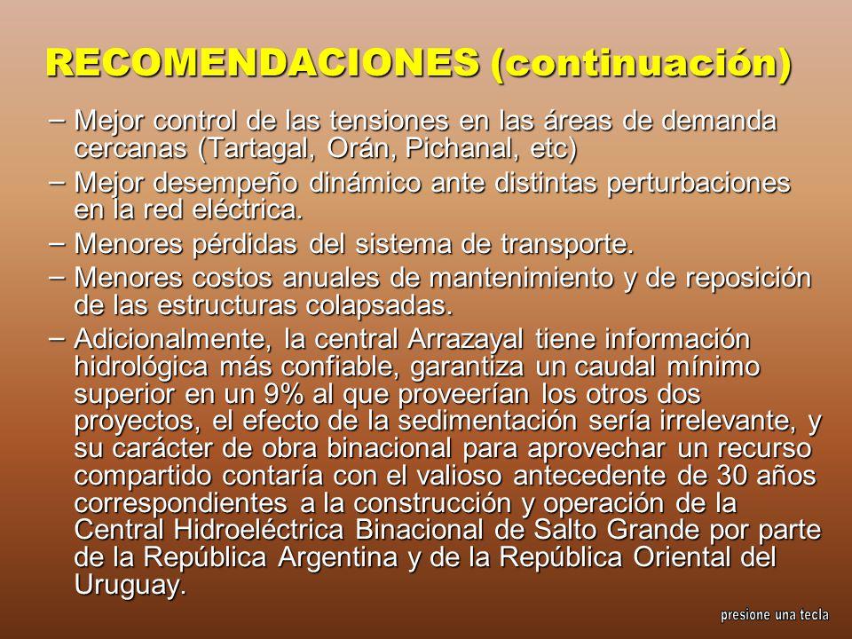 RECOMENDACIONES (continuación) – Mejor control de las tensiones en las áreas de demanda cercanas (Tartagal, Orán, Pichanal, etc) – Mejor desempeño din