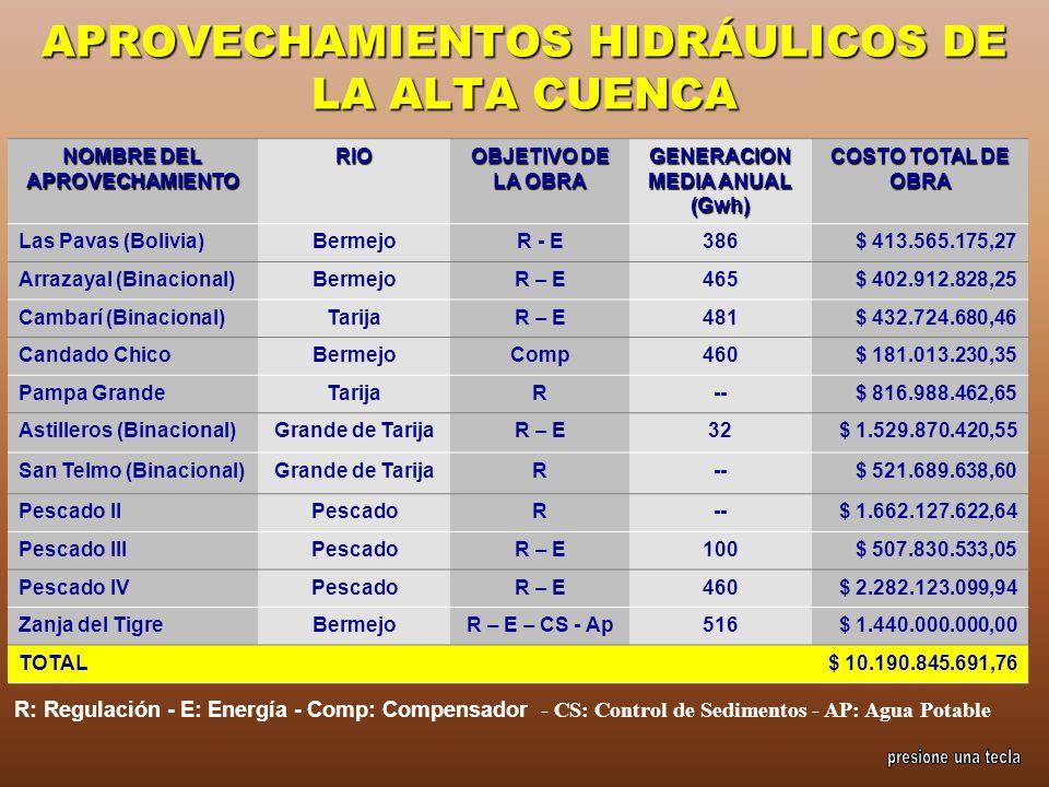 APROVECHAMIENTOS HIDRÁULICOS DE LA ALTA CUENCA R: Regulación - E: Energía - Comp: Compensador - CS: Control de Sedimentos - AP: Agua Potable NOMBRE DE