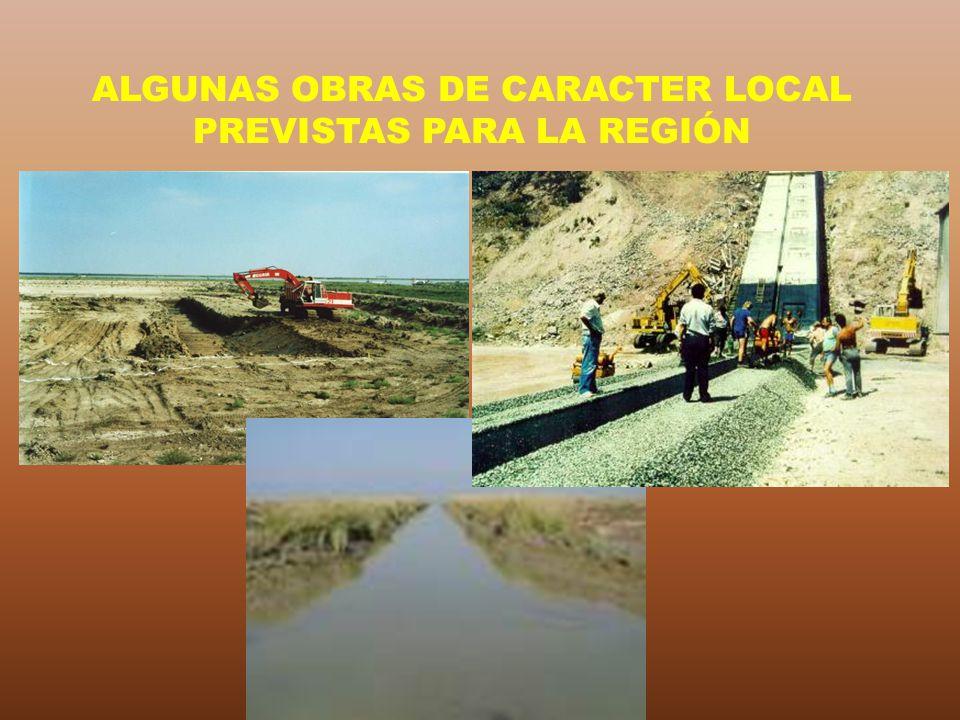 ALGUNAS OBRAS DE CARACTER LOCAL PREVISTAS PARA LA REGIÓN