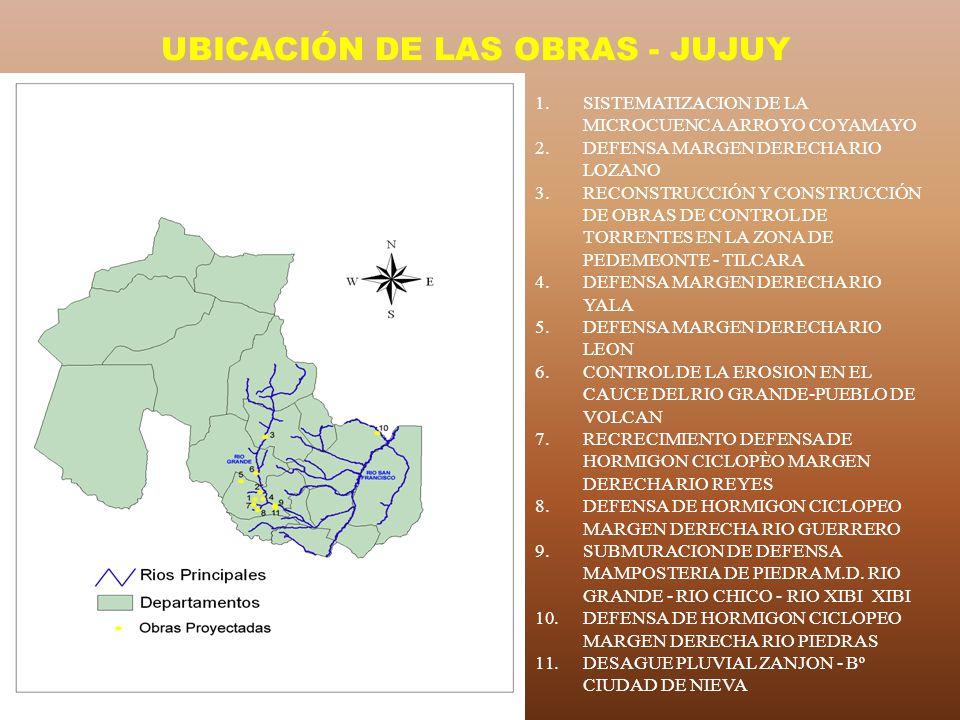 UBICACIÓN DE LAS OBRAS - JUJUY 1.SISTEMATIZACION DE LA MICROCUENCA ARROYO COYAMAYO 2.DEFENSA MARGEN DERECHA RIO LOZANO 3.RECONSTRUCCIÓN Y CONSTRUCCIÓN