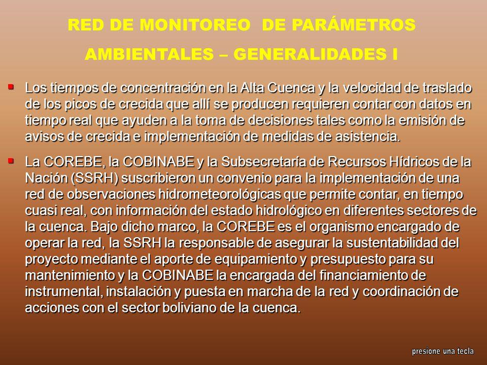 RED DE MONITOREO DE PARÁMETROS AMBIENTALES – GENERALIDADES I Los tiempos de concentración en la Alta Cuenca y la velocidad de traslado de los picos de