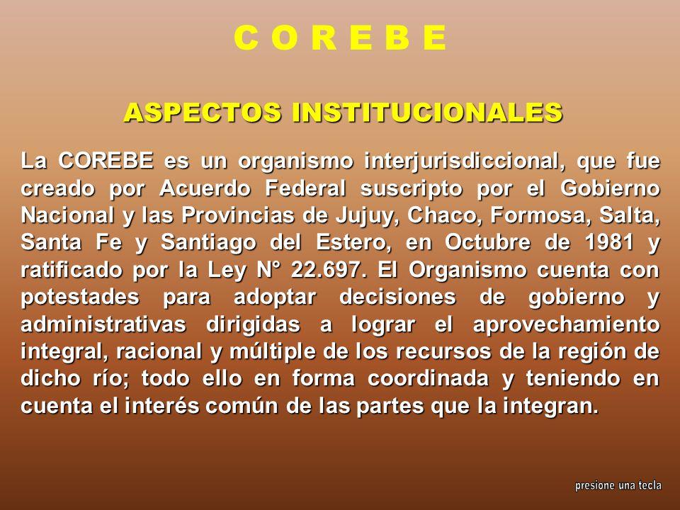 ASPECTOS INSTITUCIONALES La COREBE es un organismo interjurisdiccional, que fue creado por Acuerdo Federal suscripto por el Gobierno Nacional y las Pr