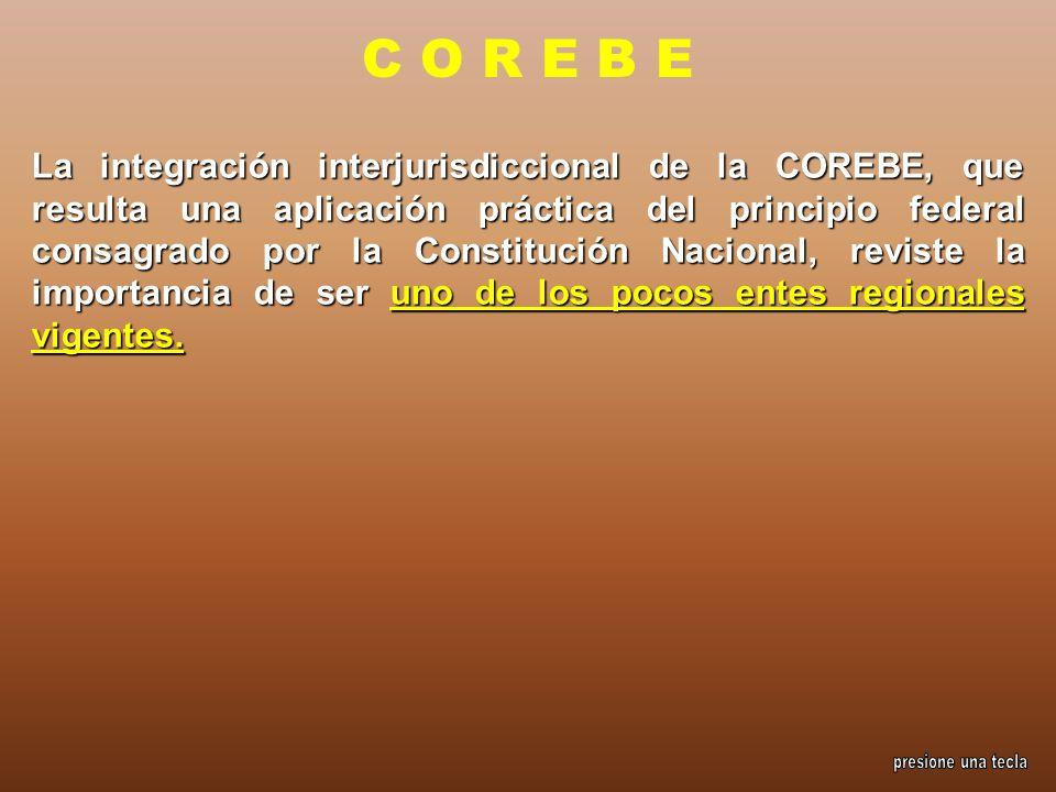 La integración interjurisdiccional de la COREBE, que resulta una aplicación práctica del principio federal consagrado por la Constitución Nacional, re
