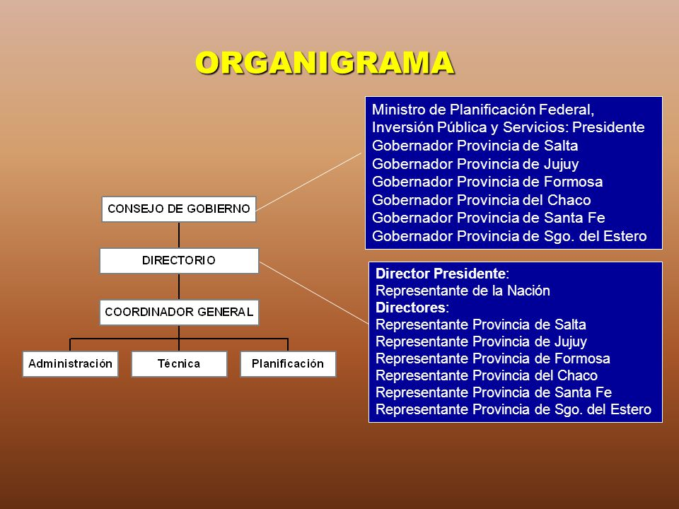 ORGANIGRAMA Ministro de Planificación Federal, Inversión Pública y Servicios: Presidente Gobernador Provincia de Salta Gobernador Provincia de Jujuy G