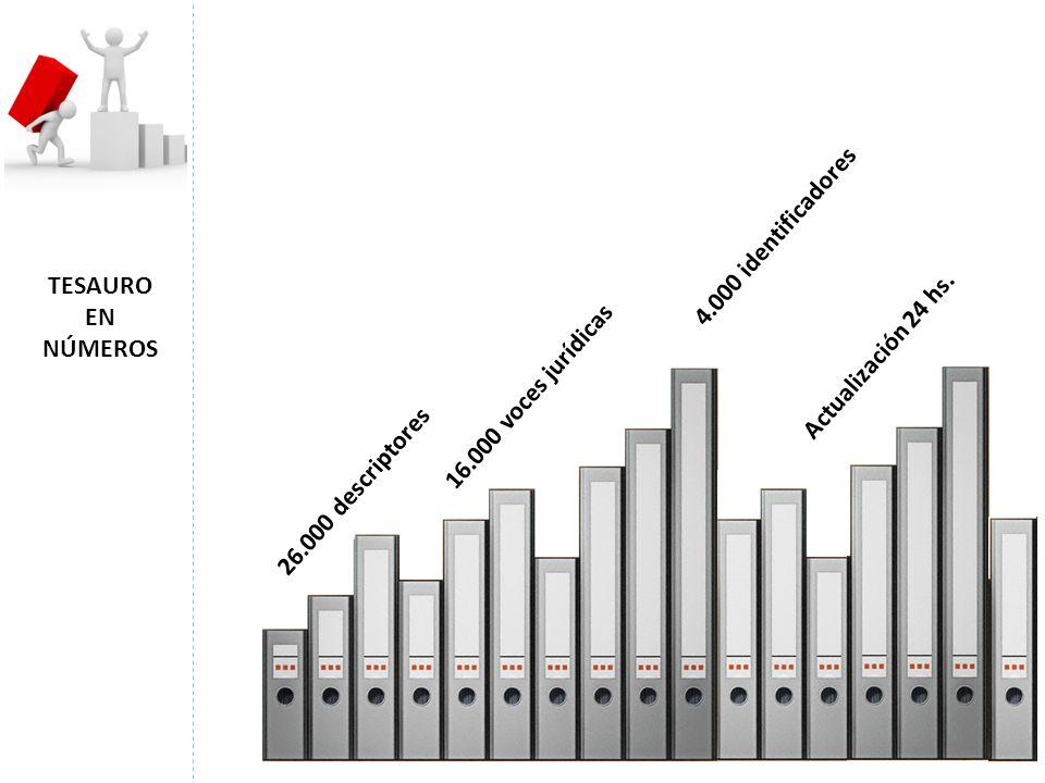 26.000 descriptores 16.000 voces jurídicas 4.000 identificadores Actualización 24 hs. TESAURO EN NÚMEROS