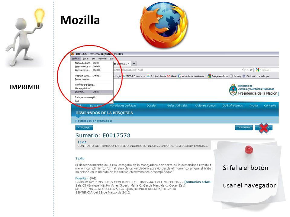IMPRIMIR Mozilla Si falla el botón usar el navegador