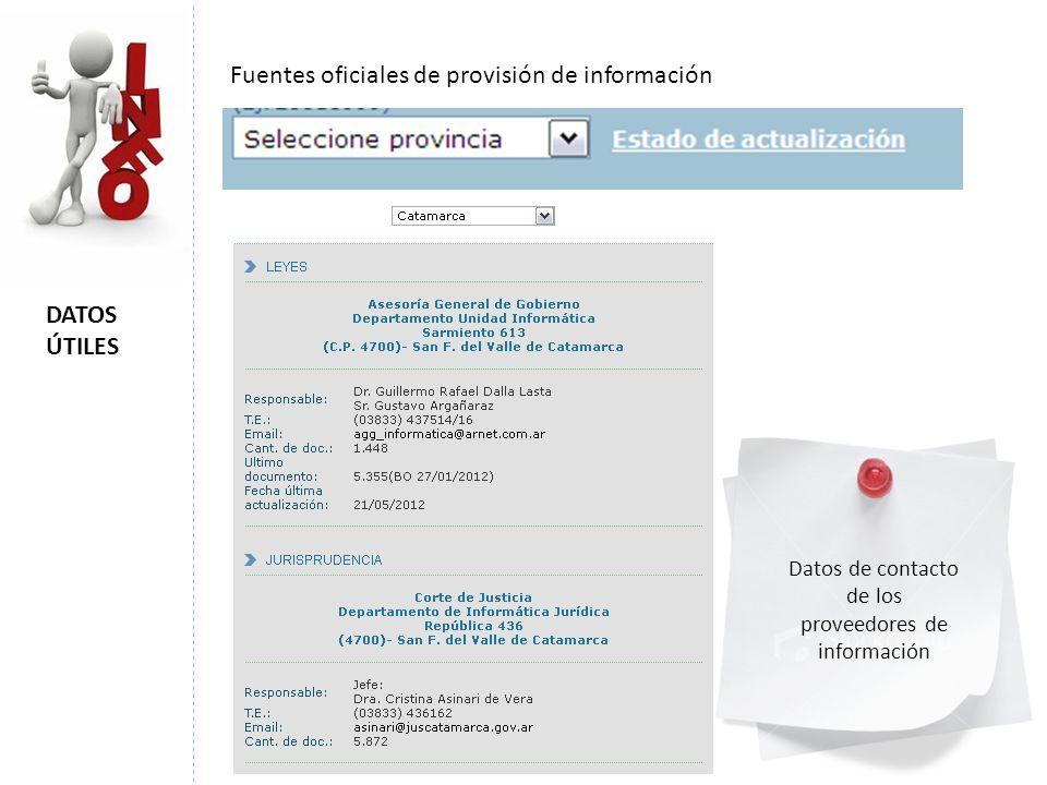 DATOS ÚTILES Fuentes oficiales de provisión de información Datos de contacto de los proveedores de información