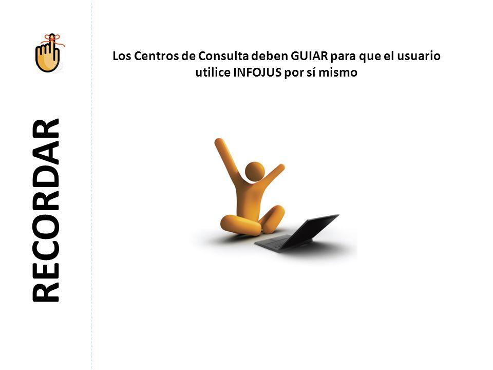 RECORDAR Los Centros de Consulta deben GUIAR para que el usuario utilice INFOJUS por sí mismo