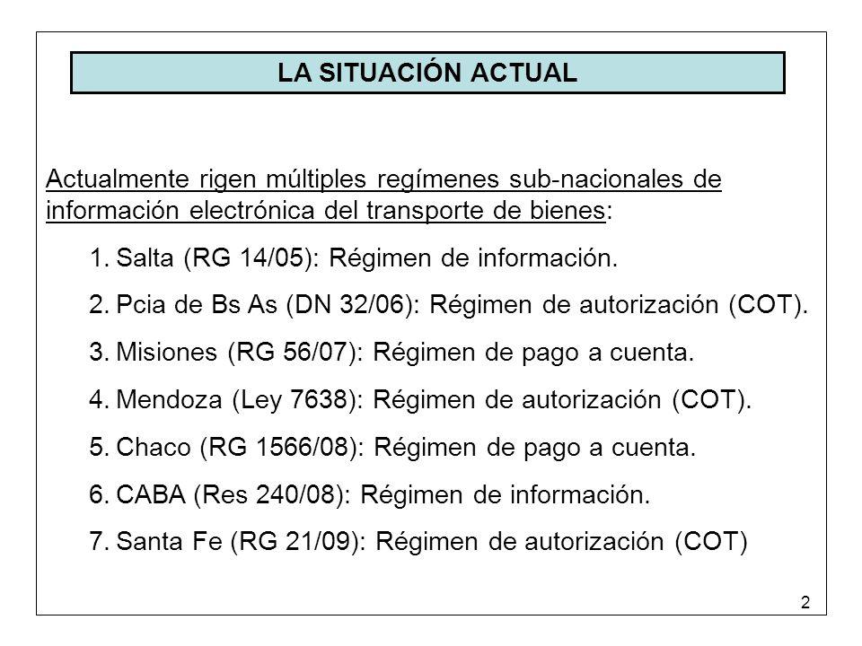 2 LA SITUACIÓN ACTUAL Actualmente rigen múltiples regímenes sub-nacionales de información electrónica del transporte de bienes: 1.Salta (RG 14/05): Régimen de información.