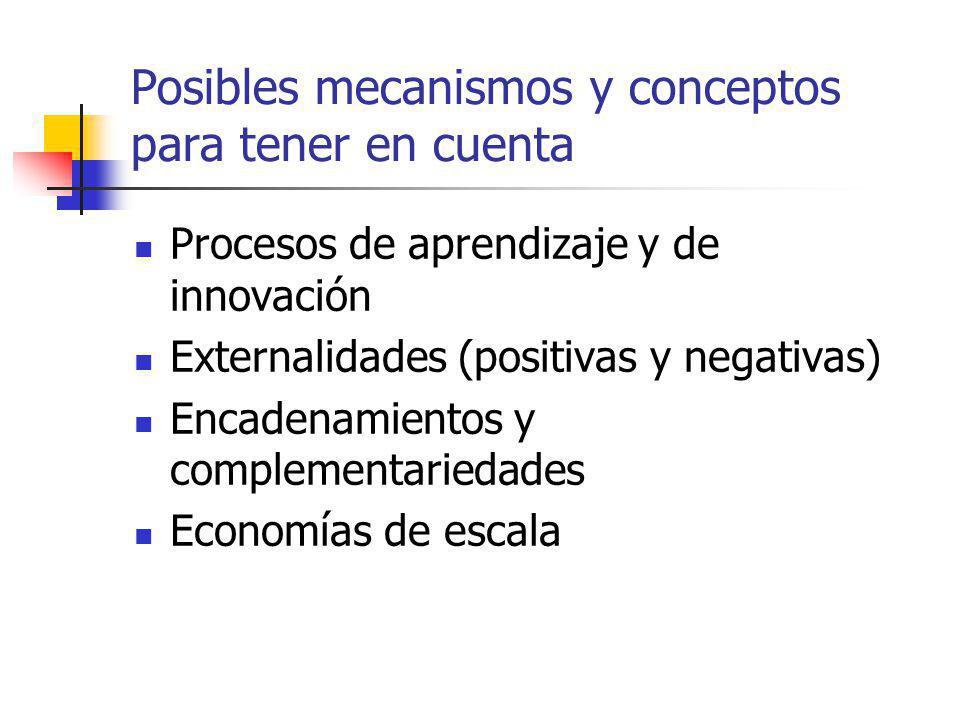 Posibles mecanismos y conceptos para tener en cuenta Procesos de aprendizaje y de innovación Externalidades (positivas y negativas) Encadenamientos y complementariedades Economías de escala