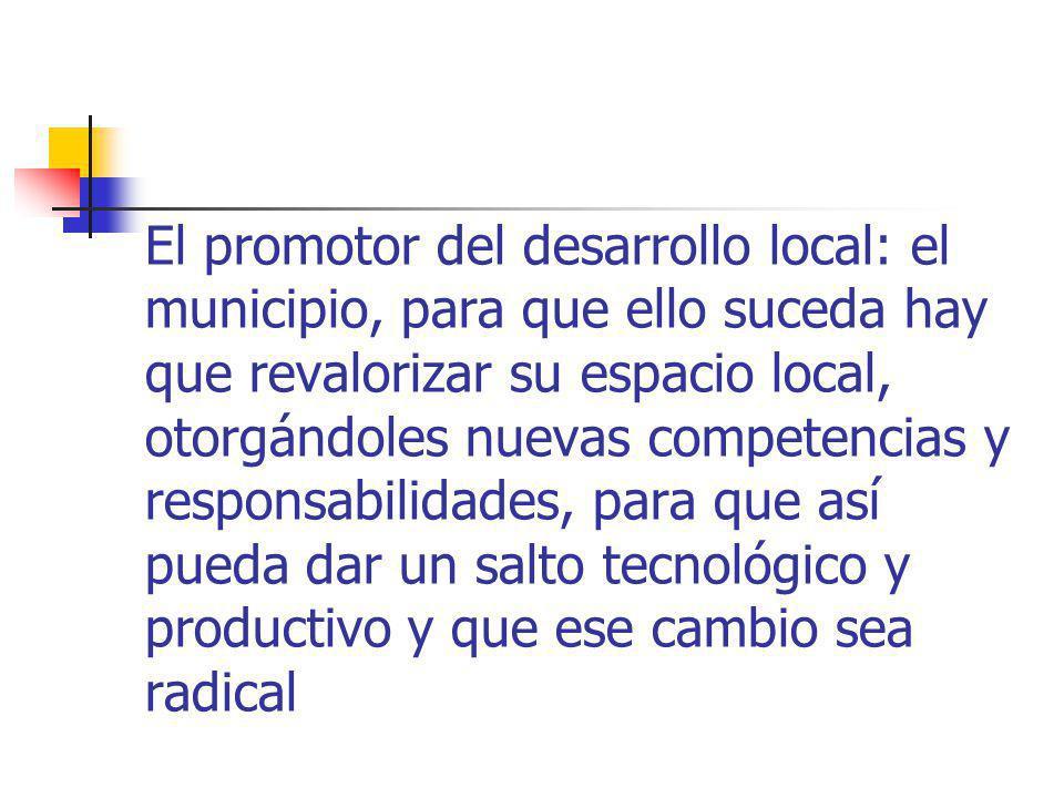 El promotor del desarrollo local: el municipio, para que ello suceda hay que revalorizar su espacio local, otorgándoles nuevas competencias y responsabilidades, para que así pueda dar un salto tecnológico y productivo y que ese cambio sea radical