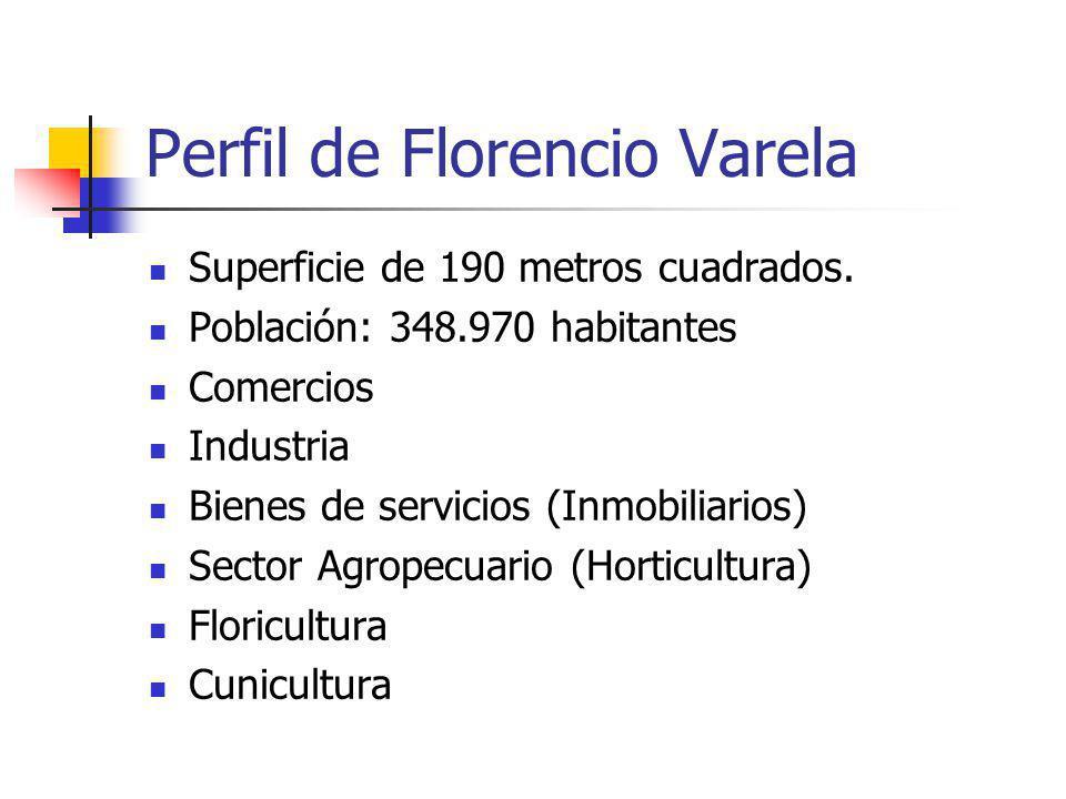 Perfil de Florencio Varela Superficie de 190 metros cuadrados. Población: 348.970 habitantes Comercios Industria Bienes de servicios (Inmobiliarios) S