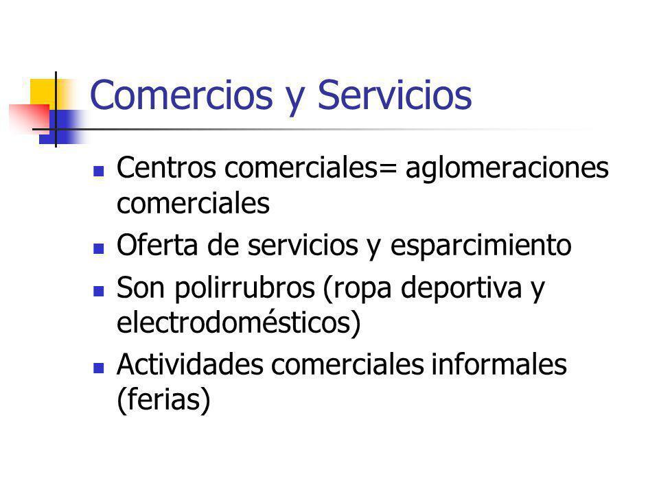 Comercios y Servicios Centros comerciales= aglomeraciones comerciales Oferta de servicios y esparcimiento Son polirrubros (ropa deportiva y electrodomésticos) Actividades comerciales informales (ferias)