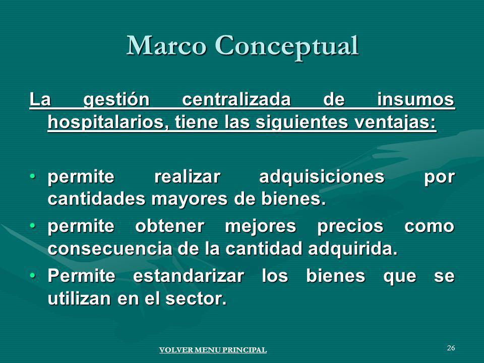 26 Marco Conceptual La gestión centralizada de insumos hospitalarios, tiene las siguientes ventajas: permite realizar adquisiciones por cantidades mayores de bienes.permite realizar adquisiciones por cantidades mayores de bienes.