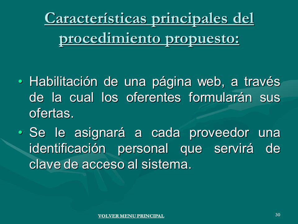 30 Características principales del procedimiento propuesto: Habilitación de una página web, a través de la cual los oferentes formularán sus ofertas.Habilitación de una página web, a través de la cual los oferentes formularán sus ofertas.