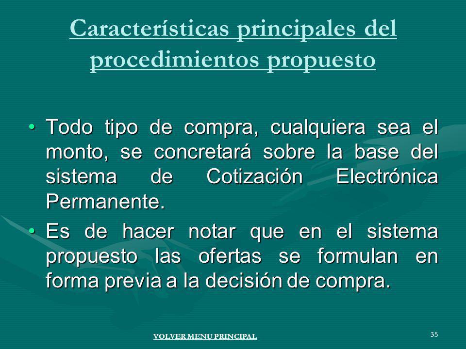 35 Características principales del procedimientos propuesto Todo tipo de compra, cualquiera sea el monto, se concretará sobre la base del sistema de Cotización Electrónica Permanente.Todo tipo de compra, cualquiera sea el monto, se concretará sobre la base del sistema de Cotización Electrónica Permanente.
