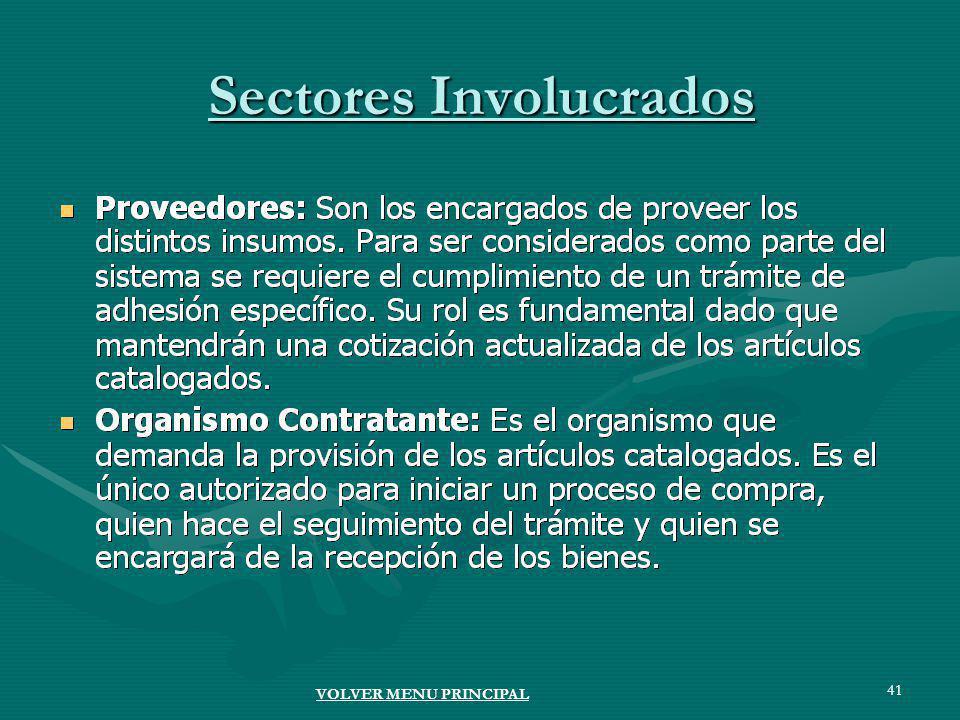 41 Sectores Involucrados VOLVER MENU PRINCIPAL