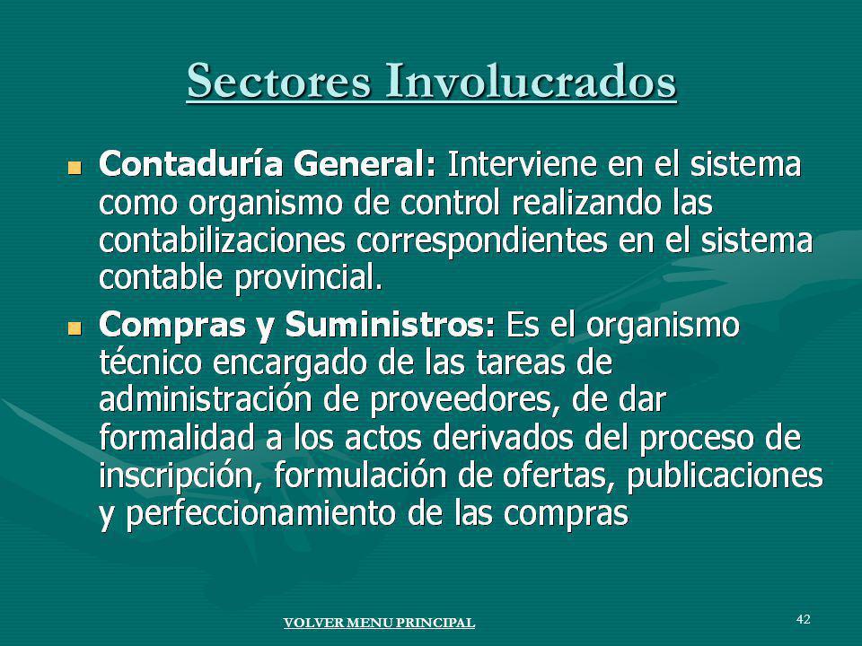 42 Sectores Involucrados VOLVER MENU PRINCIPAL