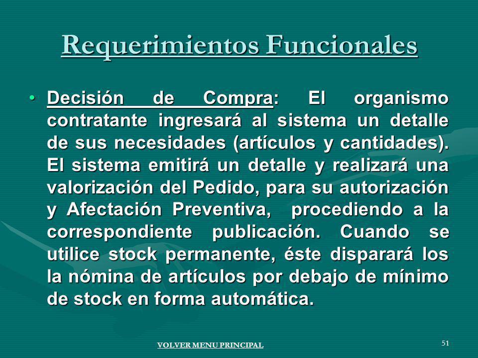 51 Requerimientos Funcionales Decisión de Compra: El organismo contratante ingresará al sistema un detalle de sus necesidades (artículos y cantidades).