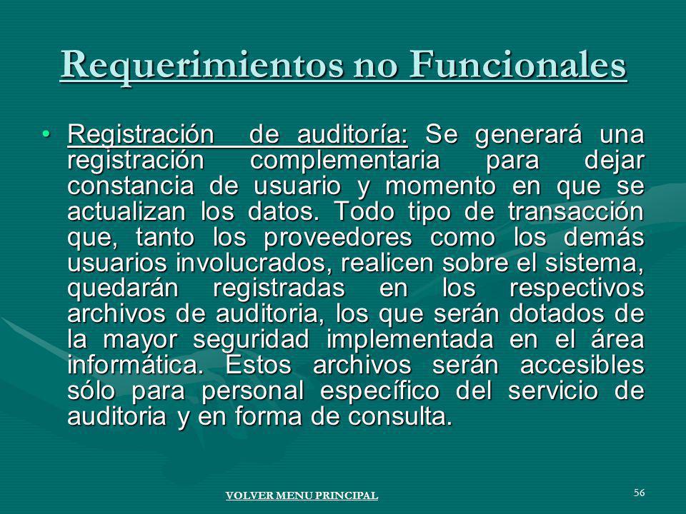 56 Requerimientos no Funcionales Registración de auditoría: Se generará una registración complementaria para dejar constancia de usuario y momento en que se actualizan los datos.