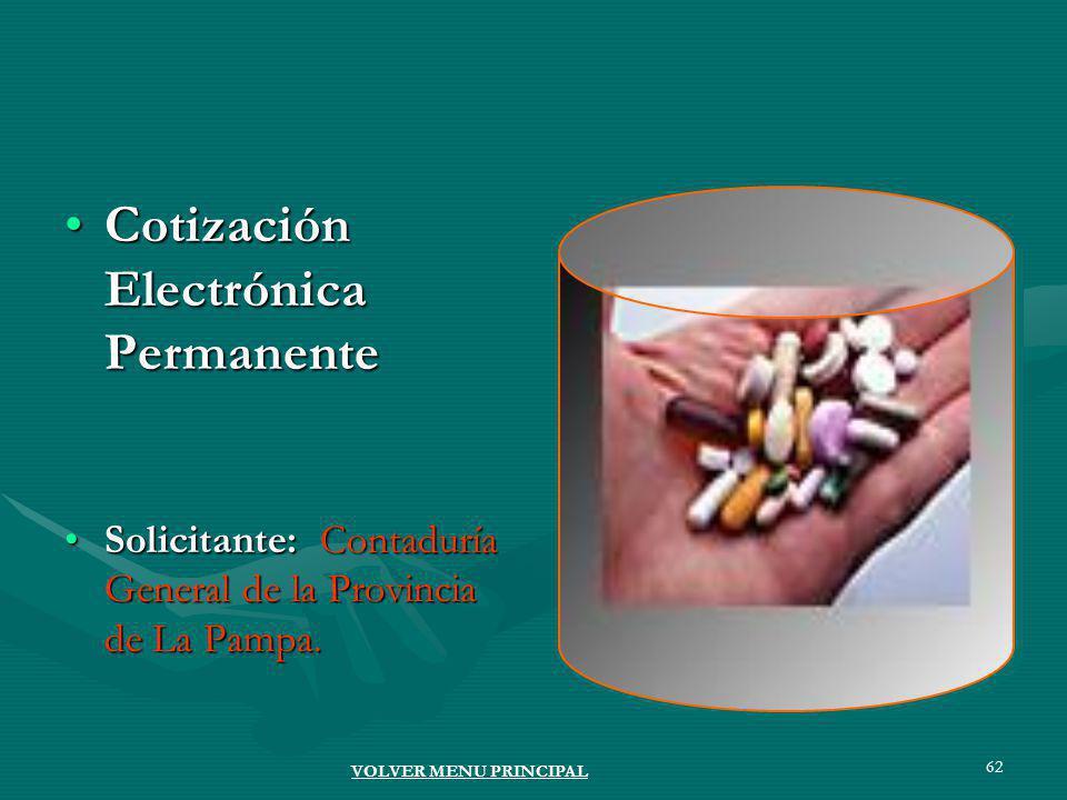 62 Cotización Electrónica PermanenteCotización Electrónica Permanente Solicitante: Contaduría General de la Provincia de La Pampa.Solicitante: Contaduría General de la Provincia de La Pampa.