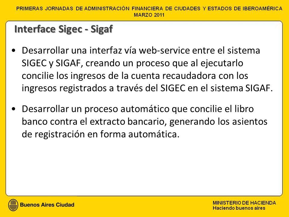 Desarrollar una interfaz vía web-service entre el sistema SIGEC y SIGAF, creando un proceso que al ejecutarlo concilie los ingresos de la cuenta recau