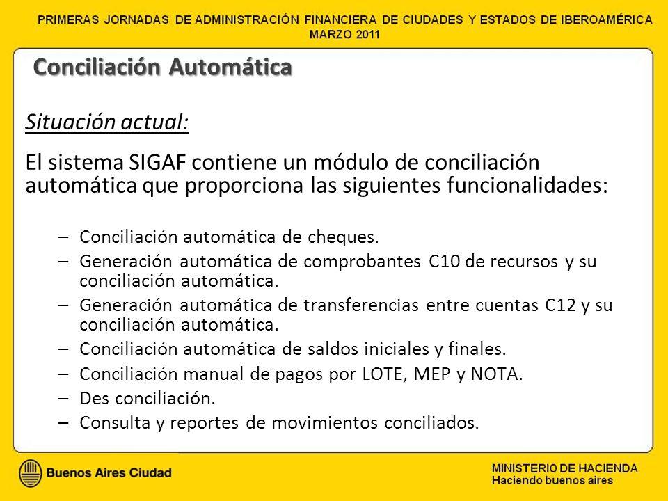 Situación actual: El sistema SIGAF contiene un módulo de conciliación automática que proporciona las siguientes funcionalidades: –Conciliación automát