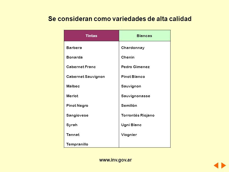 Se consideran como variedades de alta calidad TintasBlancas BarberaChardonnay BonardaChenin Cabernet FrancPedro Gimenez Cabernet SauvignonPinot Blanco