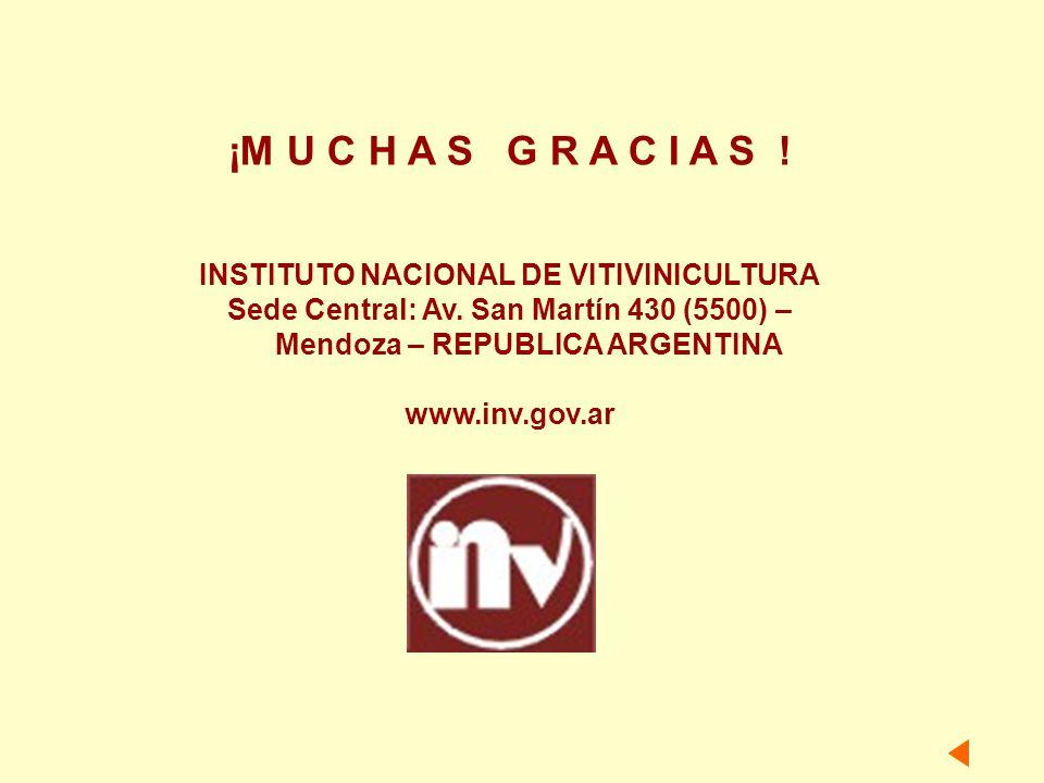 INSTITUTO NACIONAL DE VITIVINICULTURA Sede Central: Av. San Martín 430 (5500) – Mendoza – REPUBLICA ARGENTINA www.inv.gov.ar ¡M U C H A S G R A C I A