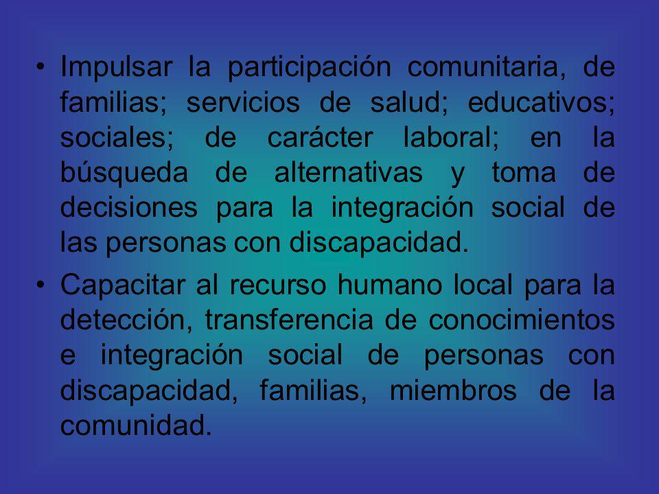 Impulsar la participación comunitaria, de familias; servicios de salud; educativos; sociales; de carácter laboral; en la búsqueda de alternativas y to