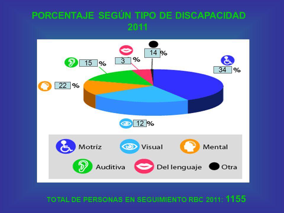 22 15 34 3 12 PORCENTAJE SEGÚN TIPO DE DISCAPACIDAD 2011 14 TOTAL DE PERSONAS EN SEGUIMIENTO RBC 2011: 1155