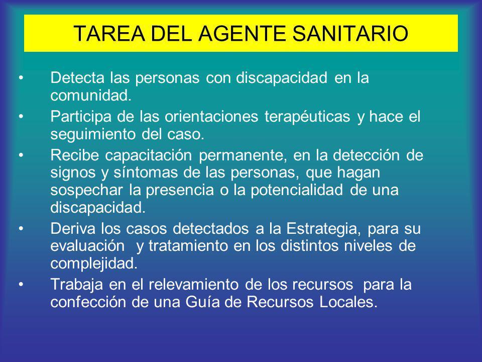 TAREA DEL AGENTE SANITARIO Detecta las personas con discapacidad en la comunidad. Participa de las orientaciones terapéuticas y hace el seguimiento de
