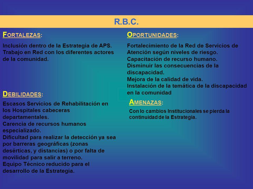 R.B.C. F ORTALEZAS: Inclusión dentro de la Estrategia de APS. Trabajo en Red con los diferentes actores de la comunidad. O PORTUNIDADES: Fortalecimien