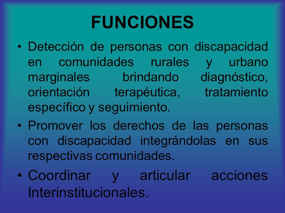 FUNCIONES Detección de personas con discapacidad en comunidades rurales y urbano marginales brindando diagnóstico, orientación terapéutica, tratamient