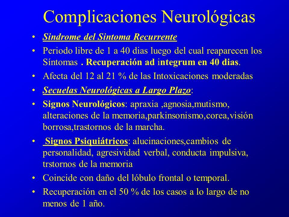 Complicaciones Neurológicas Sindrome del Sintoma Recurrente Periodo libre de 1 a 40 dias luego del cual reaparecen los Síntomas. Recuperación ad integ