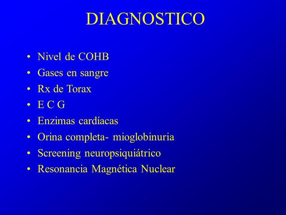 MONOXIDO de CARBONO Tratamiento Retirar al paciente de la fuente Máscara con oxígeno al 100% Cámara Hiperbárica (antes de las 6 Hs )para : Sincope, convulsiones, coma, Glasgow menor de 15 Signos de foco CoH b> 25 a 30% Toda embarazada sintomática (Sin valor de Hb) Isquemia de Miocardio Arritmia Ventricular Hipotensión sostenida Persistencia de Sintomas neurológicos despues de oxigenoterapia al 100%,de 2 a 4 hs.