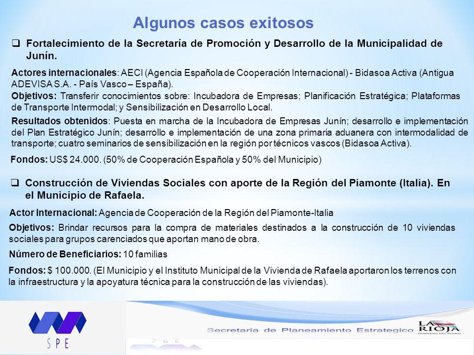Algunos casos exitosos Fortalecimiento de la Secretaría de Promoción y Desarrollo de la Municipalidad de Junín.